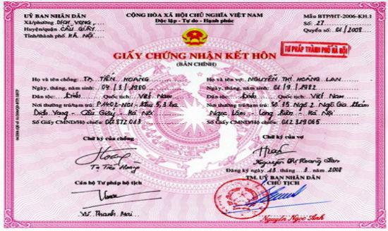 Dịch vụ làm giấy đăng ký kết hôn giả trên toàn quốc