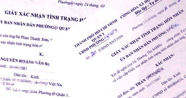 Làm giấy xác nhận tình trạng hôn nhân toàn quốc